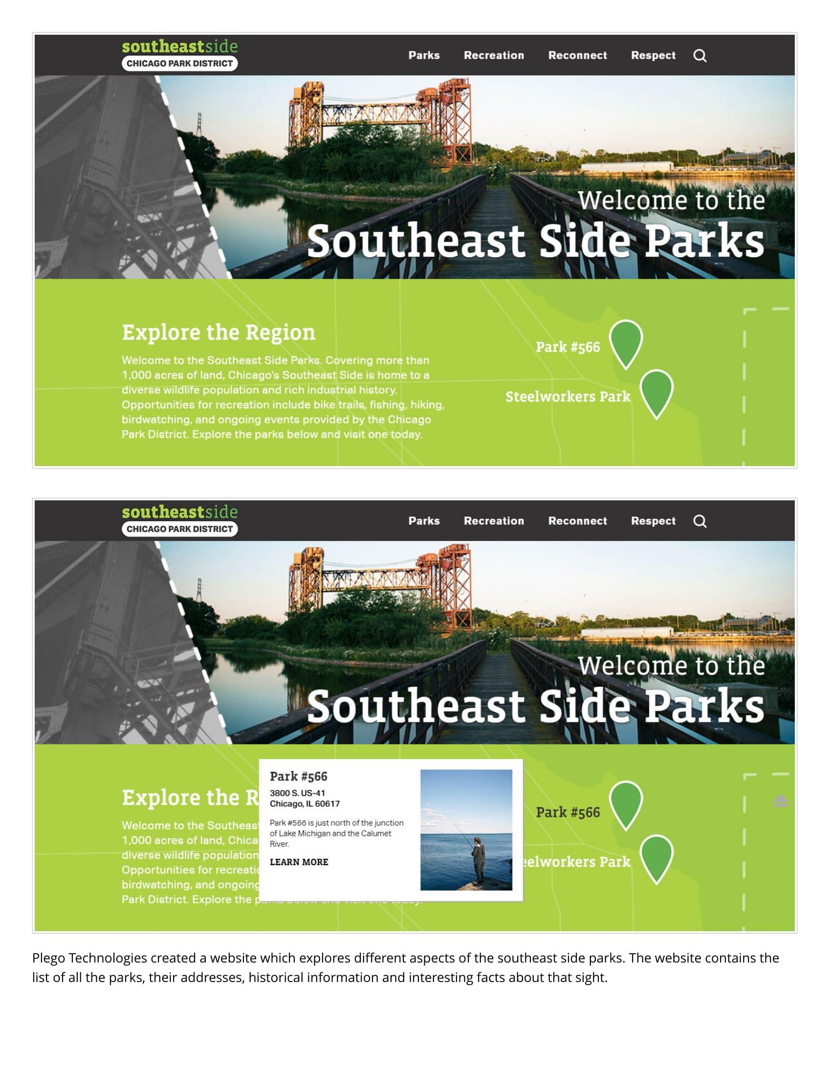 Chicago Park District Web Design/ Mobile App