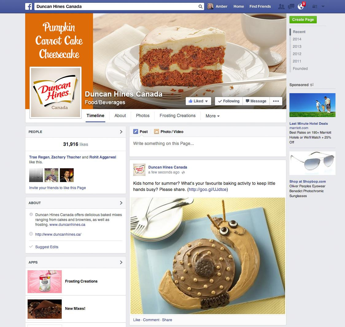 Facebook for Duncan Hines Canada