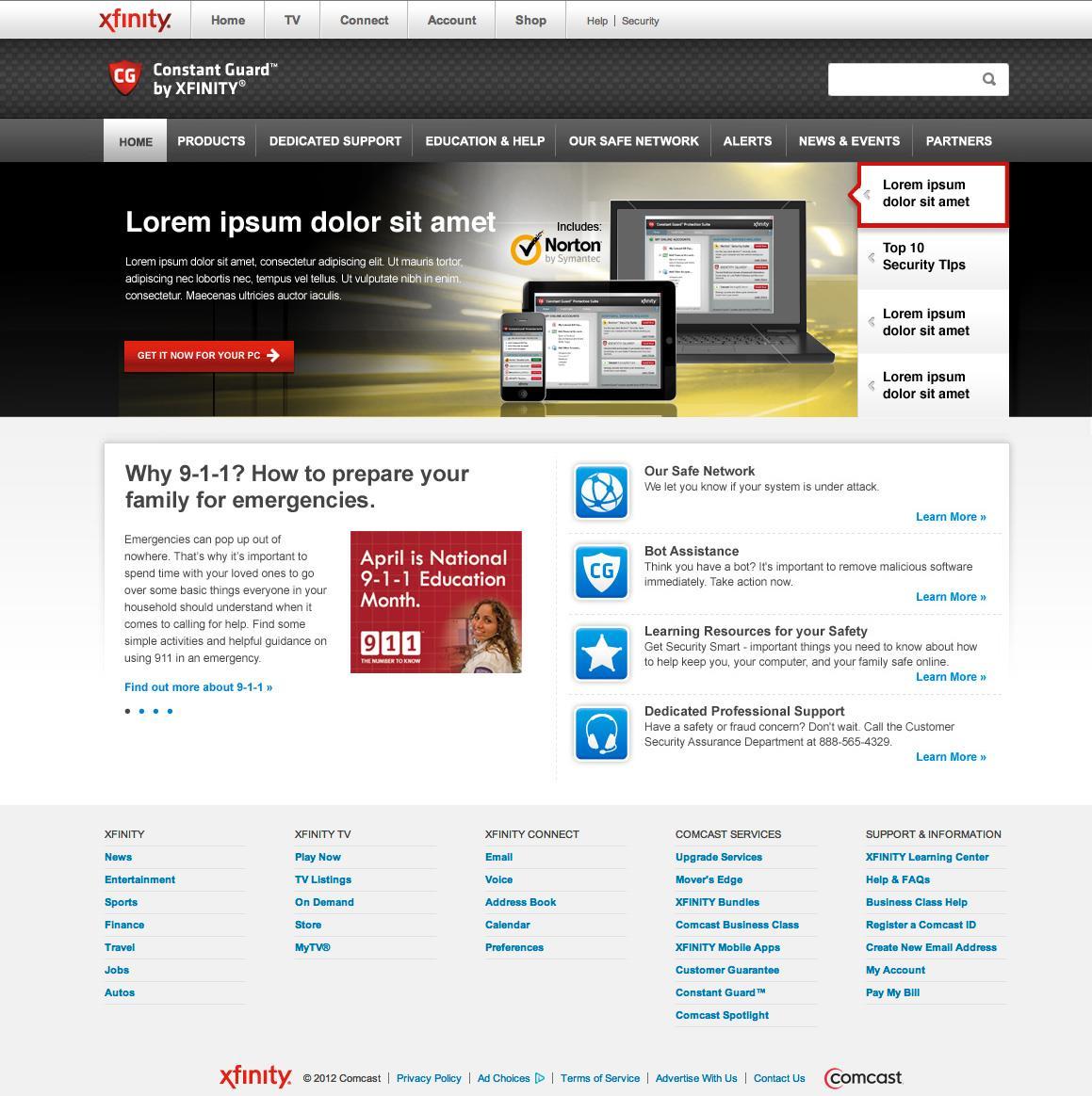 Comcast Security Website