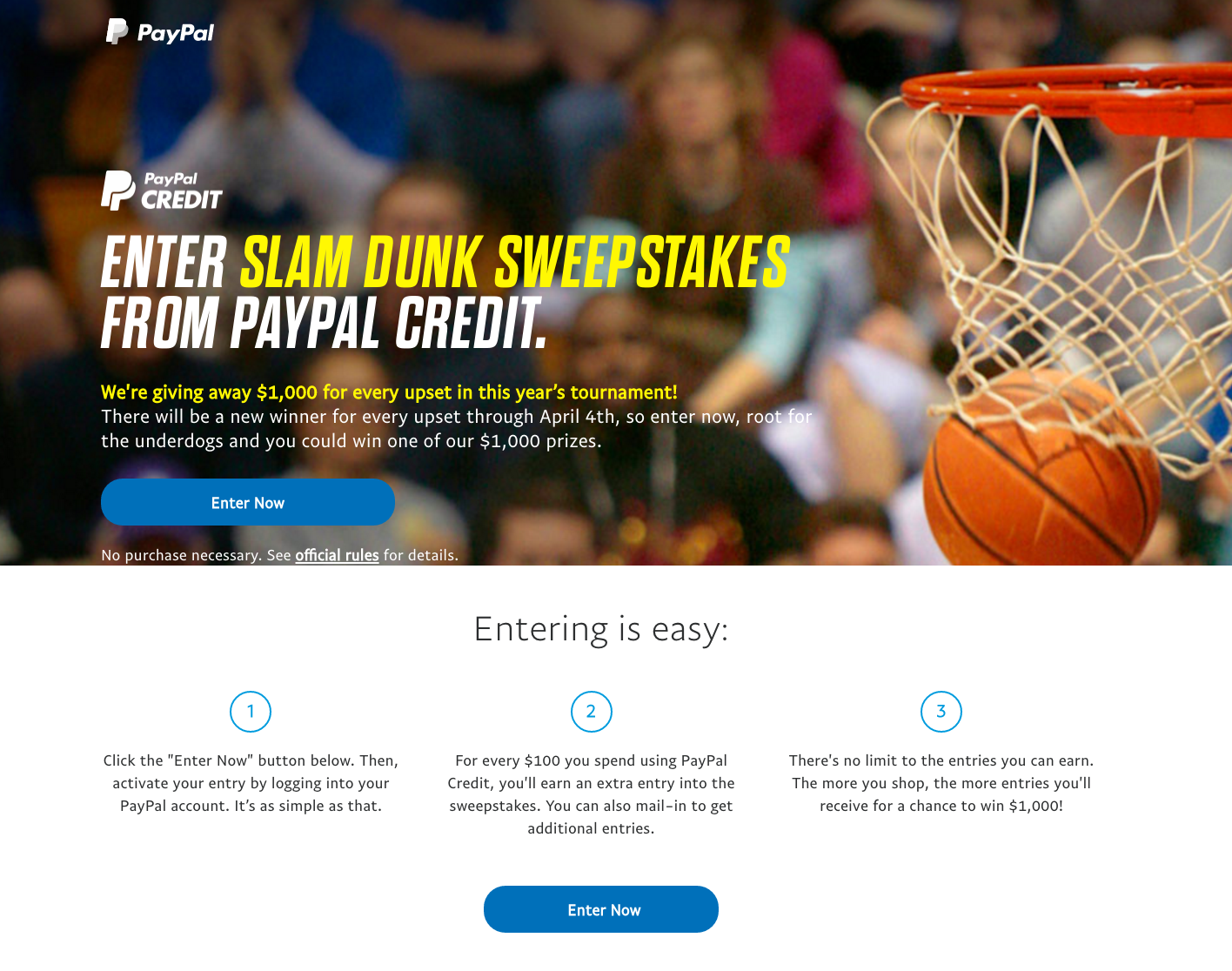 PayPal Credit Slam Dunk Sweepstakes