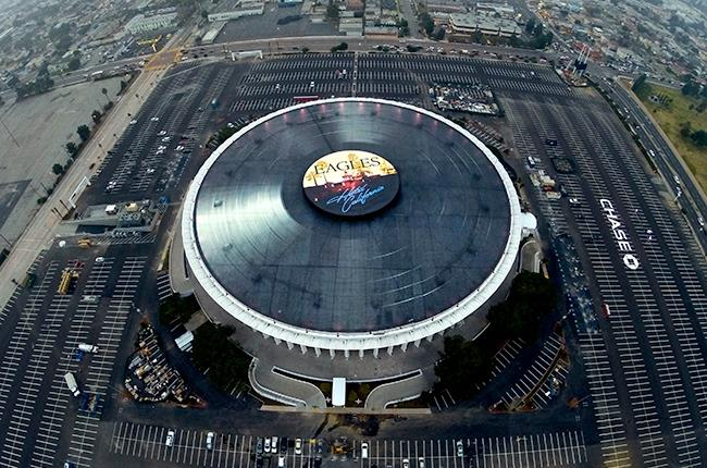 World's Largest Vinyl: Record-breaking Eagles record now spinning on top of L.A's Forum